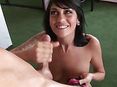 Brunette, Cumshot, Handjob, Masturbation