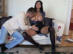 Big Tits, Boobs, Brunette, Stockings
