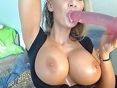 Blondine Dildo saugen Webcam